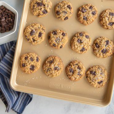 Baked cookies on sheet pan, closeup