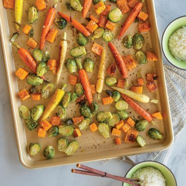 Roasted vegetables on sheet pan, rice bowls