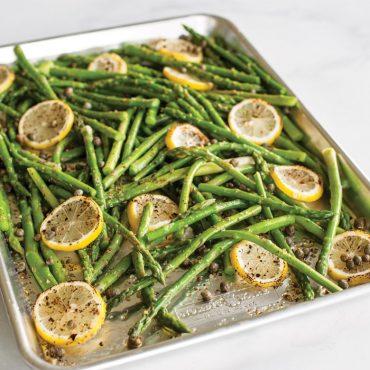 Roasted asparagus on sheet pan