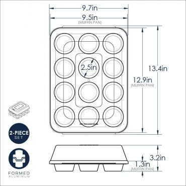 Dimensional drawing for muffin pan with high-domed lid
