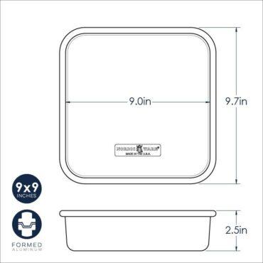 9 X 9 Square Cake Pan Dimensional Drawing