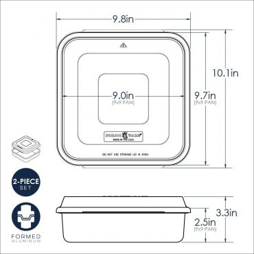 9 X 9 Square Cake Pan with Lid dimensional drawing