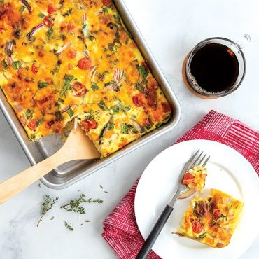"""Egg Bake in 9"""" x 13"""" Pan, piece plated"""