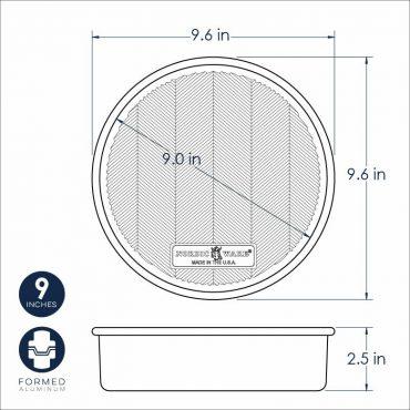 "Prism 9"" round cake pan dimensional drawing"