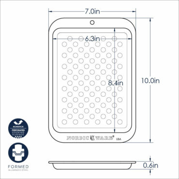 Compact nonstick crisping sheet dimensional drawing