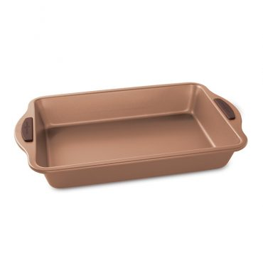 """Freshly Baked 9"""" x 13"""" Copper Cake Pan with silicone grips"""