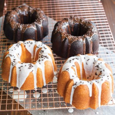 Angled baked 3 Cup Bundts, chocolate and vanilla with glazes