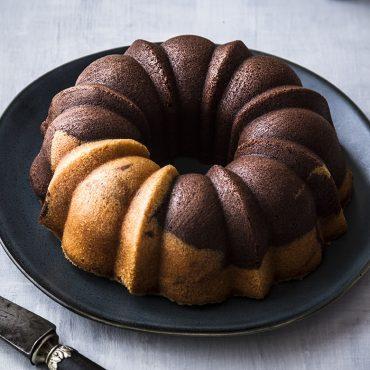 Marbled chocolate and vanilla Bundt cake on platter