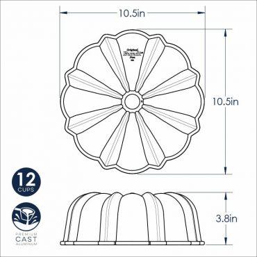 Dimensional Drawing Silver Original Bundt Pan-12 Cup