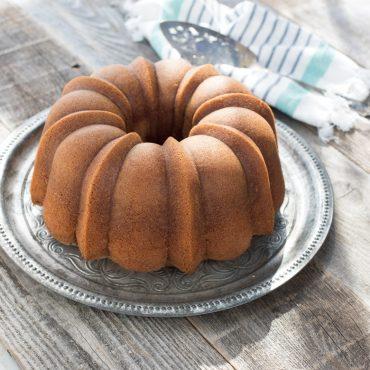 Baked Bundt on cake stand