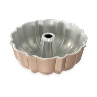Cast aluminum Bundt® cake pan, showing silver nonstick interior
