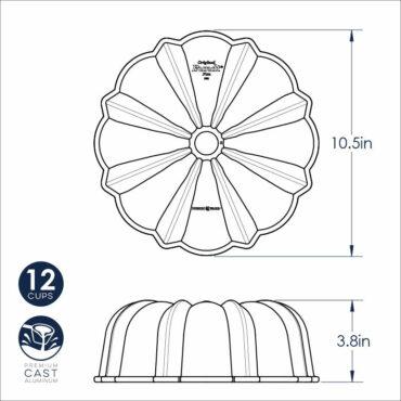 Dimensional Drawing Cast aluminum Bundt® cake pan, toffee