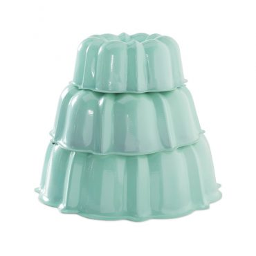 set of 3 formed aluminum Bundt® cake pans, mint exterior, white interior, 3 cup, 6 cup, 10 cup stacked in tier
