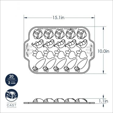 Garden Patch Cakelet Pan Dimensional Drawing