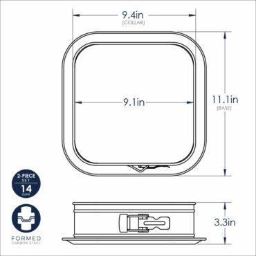 Square Springform Pan Dimensional Drawing Image