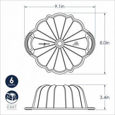 Dimensional Drawing 6 Cup Anniversary Bundt Pan with handles