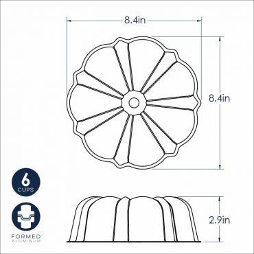 Dimensional Drawing 6 Cup Formed Bundt Pan