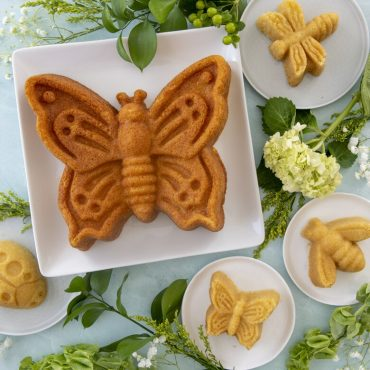 Group shot of baked bug cakes- butterflies, bee, lady bug and dragon fly with flowers in background