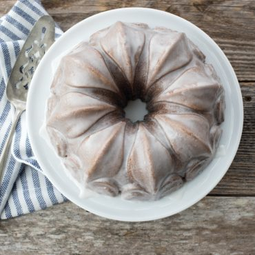 Top view of baked Bundt with white glaze