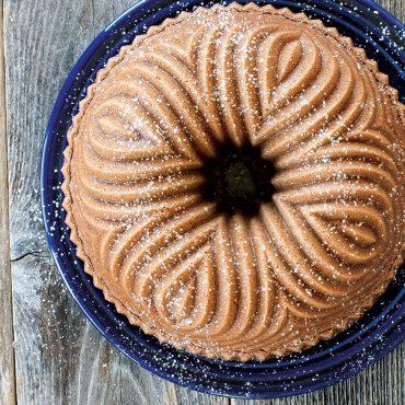 Baked Bavaria Bundt overhead with powdered sugar dusting