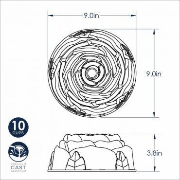 Dimensional Drawing Rose Bundt Pan