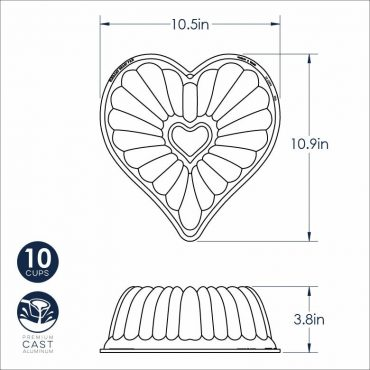 Dimensional Drawing Elegant Heart Bundt