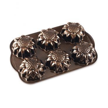 Sunflower Cakelet Pan, 6 cavities bronze exterior