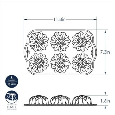 Sunflower Cakelet Pan Dimensional Drawing
