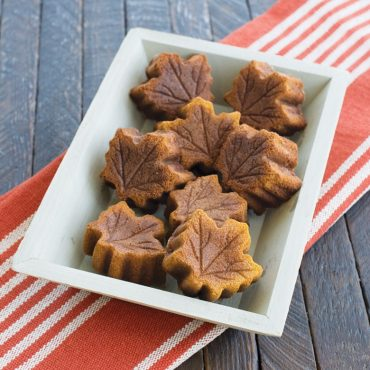 baked maple leaf cakes in serving dish