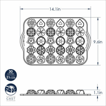 Bundt® Tea Cakes and Candies Pan dimensional drawing image