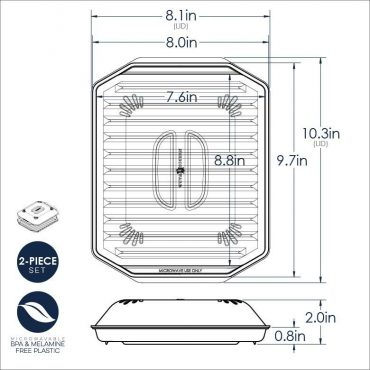 Compact Bacon rack with Lid Dimensional Drawing