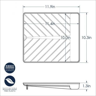 Large Slanted Bacon Tray Dimensional Drawing