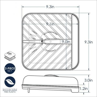 Medium Slanted Bacon Tray with Lid Dimensional Drawing