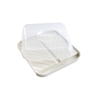 Medium Slanted Bacon Tray with Lid, well to collect grease on one end, ribbed design on base