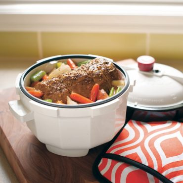 Meat and vegetables cooked in microwave Tender Cooker