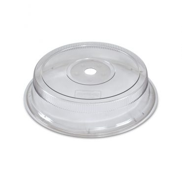 Heavy clear microwave safe plastic dome with vent holes, dinner plate size