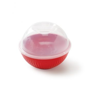 Quick Pop Single Serve Popper, red bowl base with clear top with handle