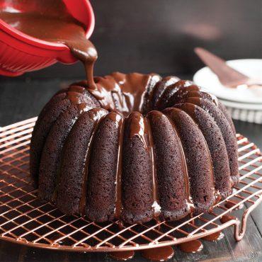 Chocolate Party Bundt, glazed with chocolate ganache