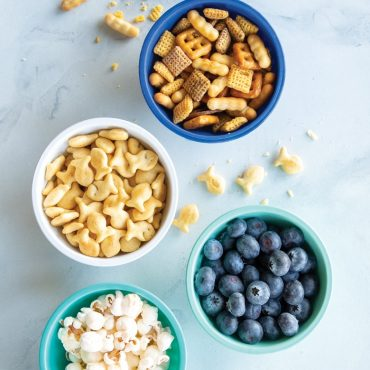Snacks in each of 4 mini bowls