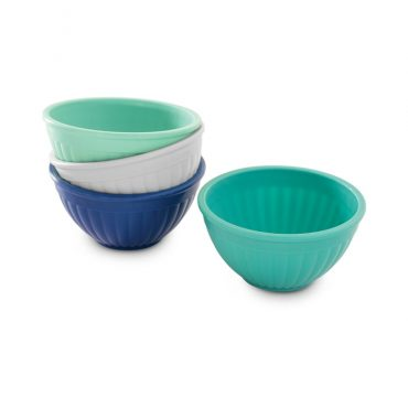 4 Piece Prep & Serve Mini Bowl Set in blue, turquoise, white and navy