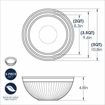3 Piece Bowl Set Dimensional Drawing