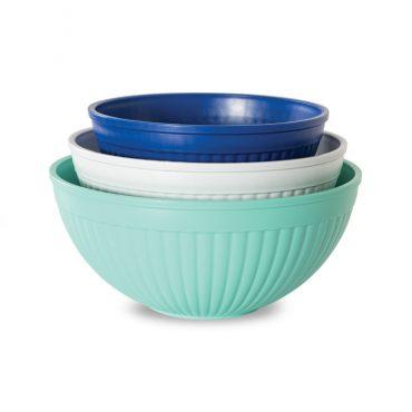 3 piece set microwave and dishwasher safe plastic; 3 bowls - 1-2 qt. 1-3.5 qt.   1-5 qt.; various colors - blue turquoise, mint, white