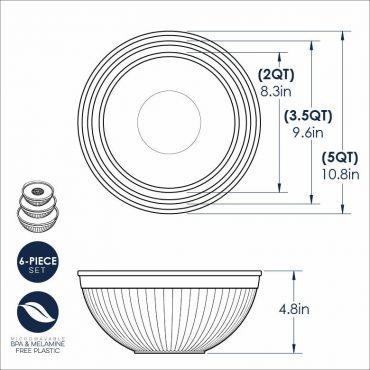 6 Piece Bowl Set Dimensional Drawing