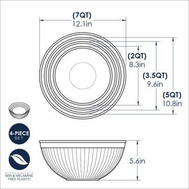 4 Piece  Bowl Set Dimensional Drawing