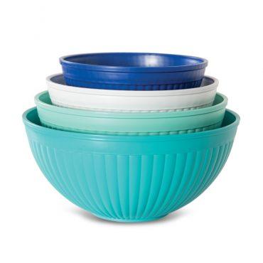 4 piece set microwave and dishwasher safe plastic; 4 bowls - 1-2 qt. 1-3.5 qt. 1-5 qt. 1-7qt in blue,  navy, mint, white, stacked