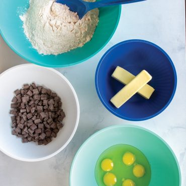 4 bowls each with baking ingredients