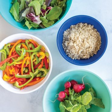 4 bowls each with salad ingredients