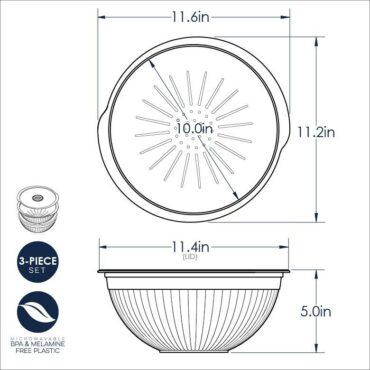 3-in-1 Colander 3 Dimensional Drawing