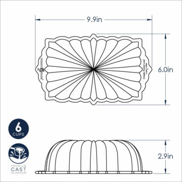 Dimensional Drawing Classic Fluted Loaf Pan