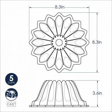 "Lotus Bundt dimensional drawing, 8.3"" x 8.3"" x 3.6"""